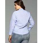 Plus Size Openwork Striped Shirt for sale