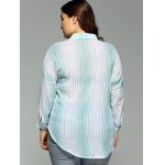 Plus Size One Pocket Striped High-Low Shirt for sale