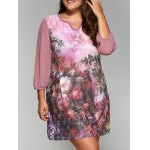 Rhinestoned Floral Print A-Line Dress