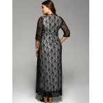 best Plus Size Maxi Lace Prom Dress with Sleeves