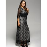 Plus Size Maxi Lace Prom Dress with Sleeves deal