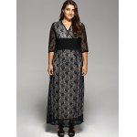 cheap Plus Size Maxi Lace Prom Dress with Sleeves