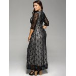 Plus Size Maxi Lace Prom Dress with Sleeves for sale