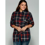 cheap Plus Size Checkered Print Back Buttoned Shirt