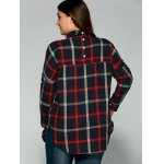 Plus Size Checkered Print Back Buttoned Shirt for sale