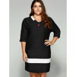 cheap Plus Size Two-Toned Hemming Sleeves Dress