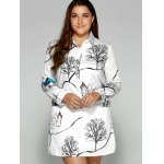 cheap Plus Size Landscape Print Shirt Dress