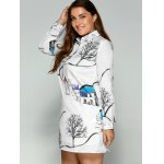 Plus Size Landscape Print Shirt Dress deal
