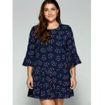 cheap Plus Size Trumpet Sleeves Animal Kitten Print Dress