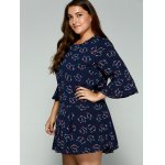 Plus Size Trumpet Sleeves Animal Kitten Print Dress deal