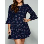 Plus Size Trumpet Sleeves Animal Kitten Print Dress