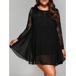 Plus Size Lace Splicing Chiffon Dress