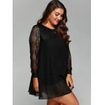 cheap Plus Size Lace Splicing Chiffon Dress