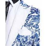 Lapel Chinoiserie Floral Print One-Button Blazer deal