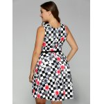 best Plus Size Checkered Floral Print Belted Dress