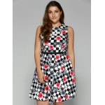 cheap Plus Size Checkered Floral Print Belted Dress