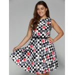 Plus Size Checkered Floral Print Belted Dress deal