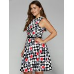 Plus Size Checkered Floral Print Belted Dress for sale