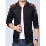 cheap Plus Size Stand Collar PU-Leather Splicing Design Zip-Up Jacket