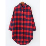 Plus Size High Low Checkered Print Shirt