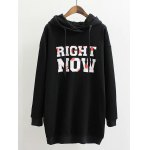 Plus Size Letter Print Long Hoodie