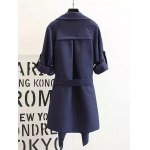 cheap Plus Size Convertible Tied Trench Coat