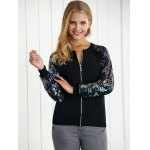 cheap Sequined Zip-Up Baseball Jacket