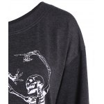 Skew Collar Skeleton Print Halloween Sweatshirt deal