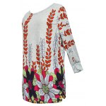 cheap Casual Round Neck Floral Print T-Shirt