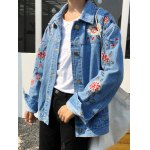 cheap Shirt Neck Retro Floral Embroidered Denim Jacket