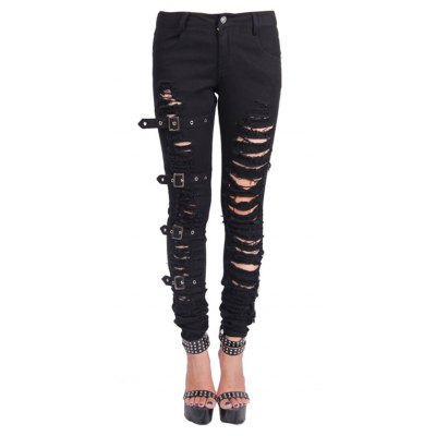 Elastic Destroyed Denim Pants