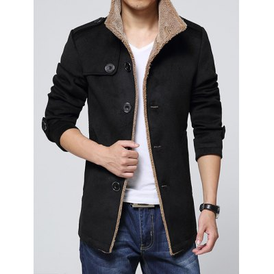 Epaulet Embellished Single-Breasted Turn-Down Collar Fleece Coat