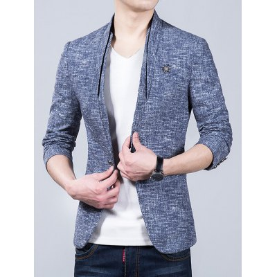 Stand Collar Heathered Blazer