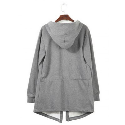 Drawstring Waist Long Sleeve Hooded Longline Coat