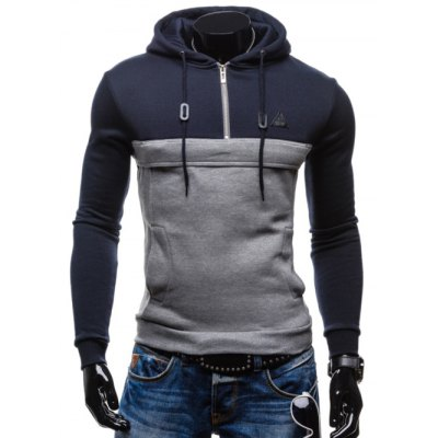 Color Splicing Zip Up Pullover Hoodie