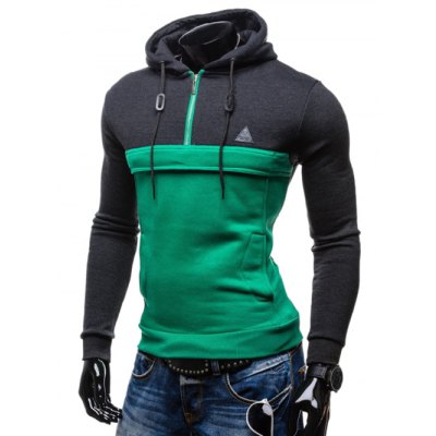 Color Splicing Zip Up Drawstring Pullover Hoodie