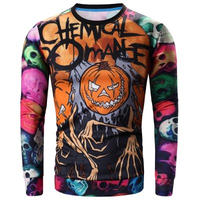 Round Neck 3D Colorful Skull and Halloween Pumokin Print Long Sleeve Sweatshirt