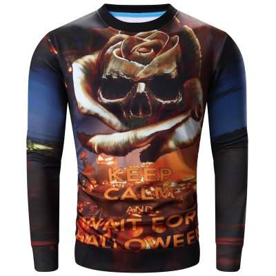 Round Neck 3D Halloween Pumpkin Lamp and Skull Print Long Sleeve Sweatshirt