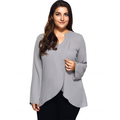 Plus Size Front Slit Loose BlousePlus Size Tops<br>Plus Size Front Slit Loose Blouse<br><br>Material: Polyester<br>Clothing Length: Long<br>Sleeve Length: Full<br>Collar: V-Neck<br>Style: Casual<br>Season: Spring,Summer<br>Pattern Type: Solid<br>Weight: 0.360kg<br>Package Contents: 1 x Blouse