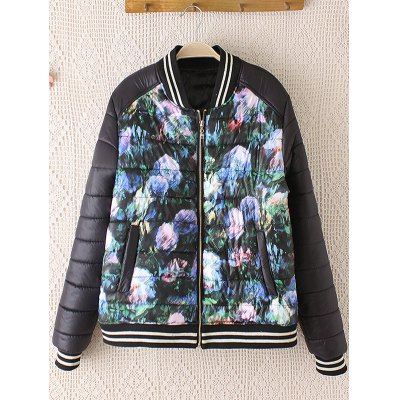 Striped Floral Print Plus Size Bomber Jacket