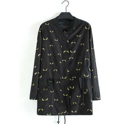 Front Pocket Printed Plus Size Trench Coat