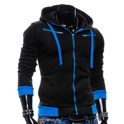 Zippered Color Splicing Hoodie
