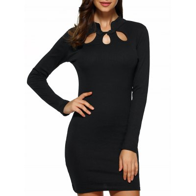 Hollow Out Long Sleeve Bodycon Dress