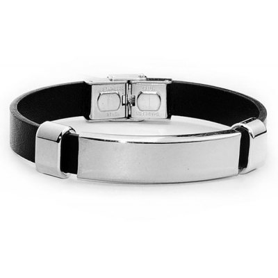 Stainless Steel Faux Leather Bracelet