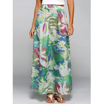 High Waisted Chiffon Printed Maxi Skirt