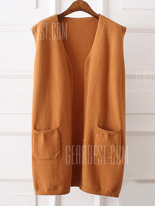 Side Slit Front Pocket Plus Size Vest KHAKI