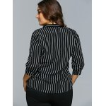 Front Pocket Buttoned Striped Blouse for sale