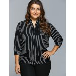 cheap Front Pocket Buttoned Striped Blouse