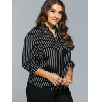 Front Pocket Buttoned Striped Blouse deal