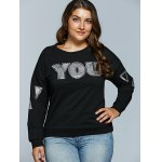 cheap Letter Applique Loose Sweatshirt